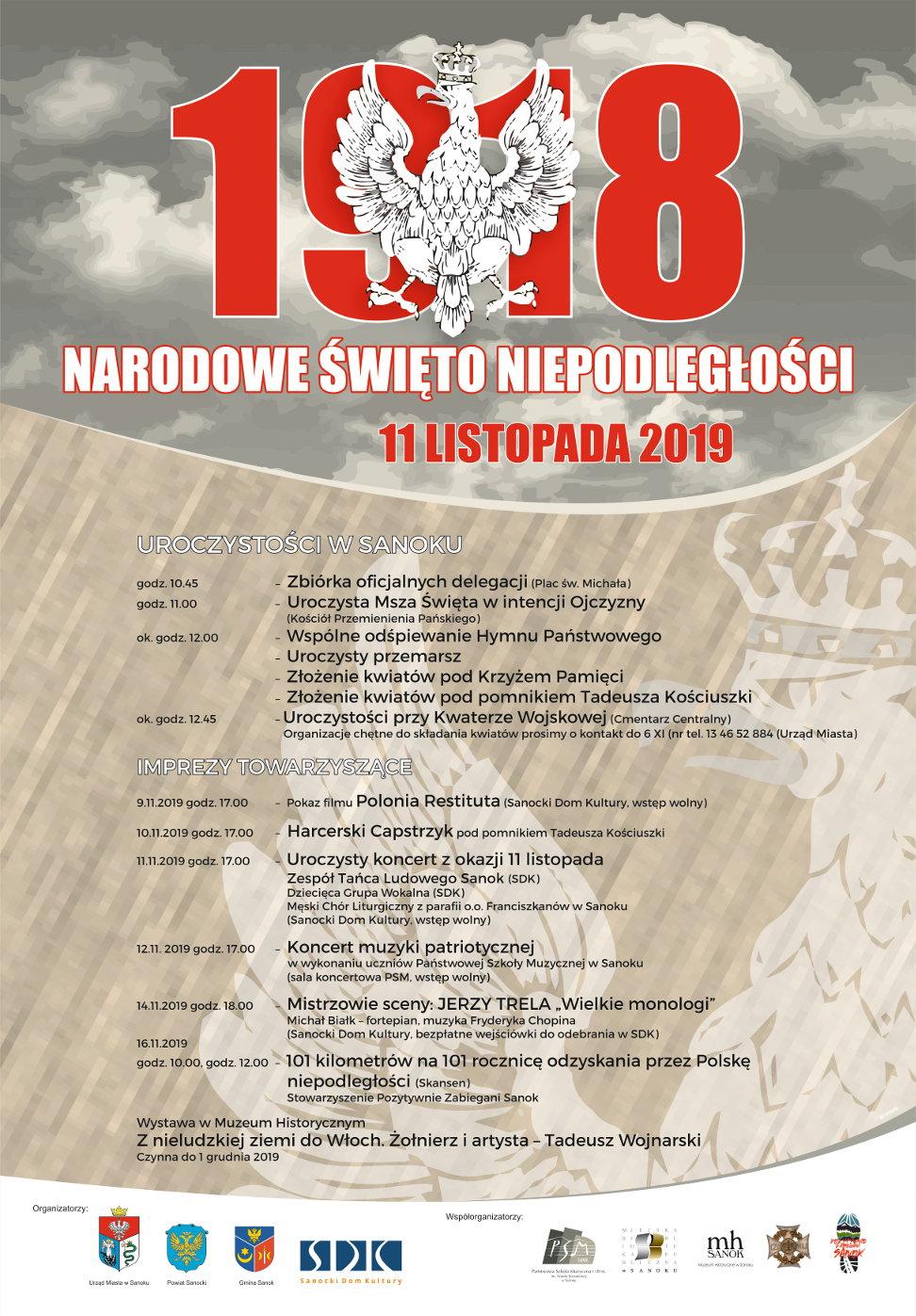 Narodowe święto niepodległości - 11 Listopad   2019 roku - plakat